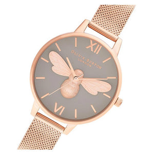 Olivia Burton Lucky Bee, Grey Dial & Rose Gold Mesh Ladies Watch - OB16FB10