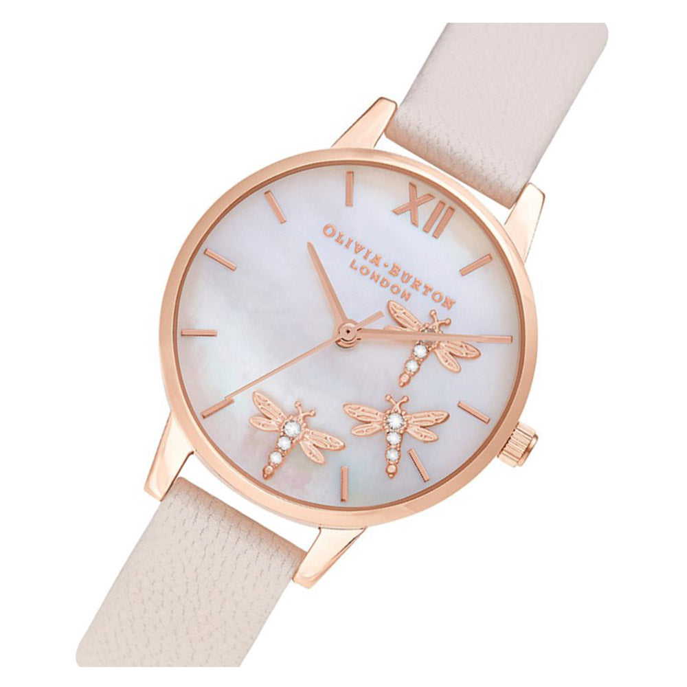 Olivia Burton Dancing Dragonfly Blush Faux MOP Dial, Pearl Pink & Rose Gold Ladies Watch - OB16GB01