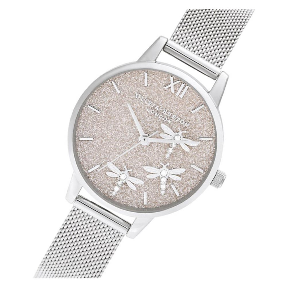 Olivia Burton Dancing Dragonfly Blush Glitter Dial & Silver Mesh Ladies Watch - OB16GB02