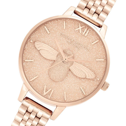 Olivia Burton Glitter 3D Bee Pale Rose Gold Bracelet Ladies Watch - OB16GD46
