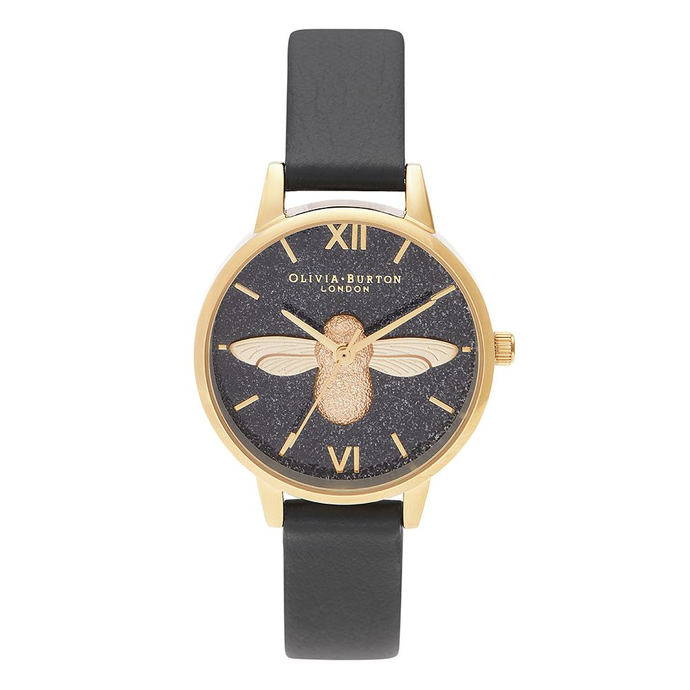 Olivia Burton Glitter 3D Bee Black Eco Friendly Ladies Watch - OB16GD48