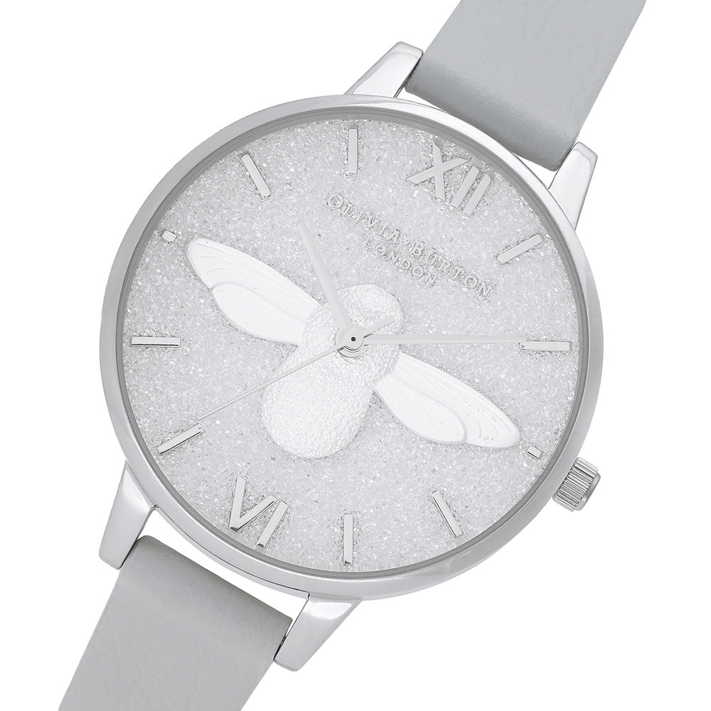 Olivia Burton 3D Bee Glitter Eco Light Grey Ladies Watch - OB16GD52