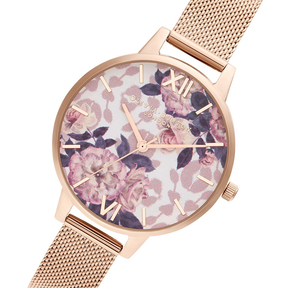 Olivia Burton Wildflower Pale Rose Gold Mesh Ladies Watch - OB16LP01