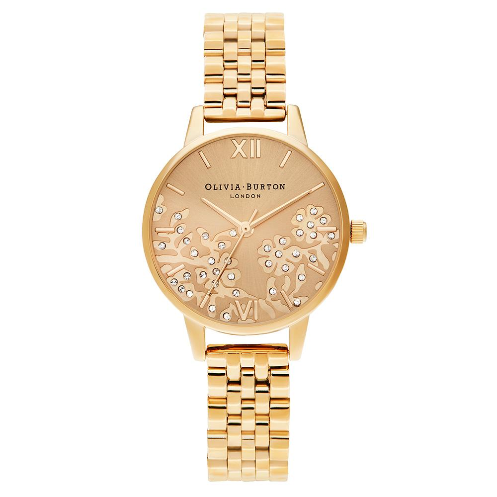 Olivia Burton Bejewelled Lace Gold Steel Ladies Watch - OB16MV105