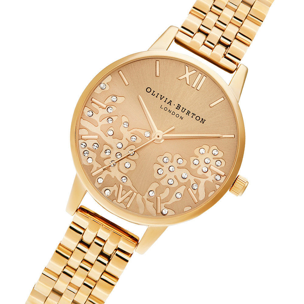 Olivia Burton Bejewelled Lace Gold Bracelet Ladies Watch - OB16MV105