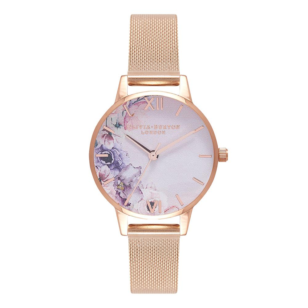 Olivia Burton Watercolour Florals Rose Gold Mesh Ladies Watch - OB16PP39