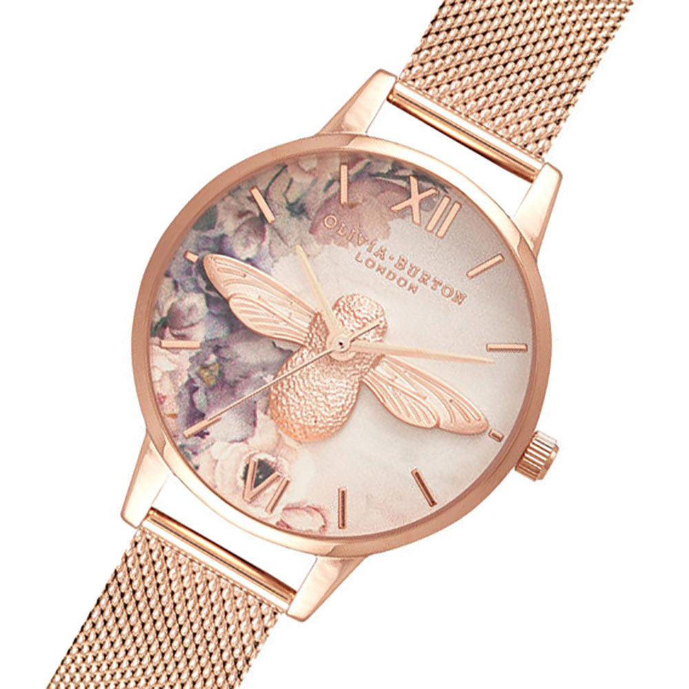 Olivia Burton Watercolour Florals Rose Gold Mesh Ladies Watch - OB16PP40