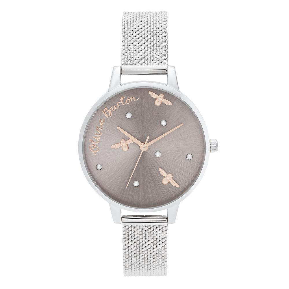 Olivia Burton Pearly Queen Silver Mesh Ladies Watch - OB16PQ01