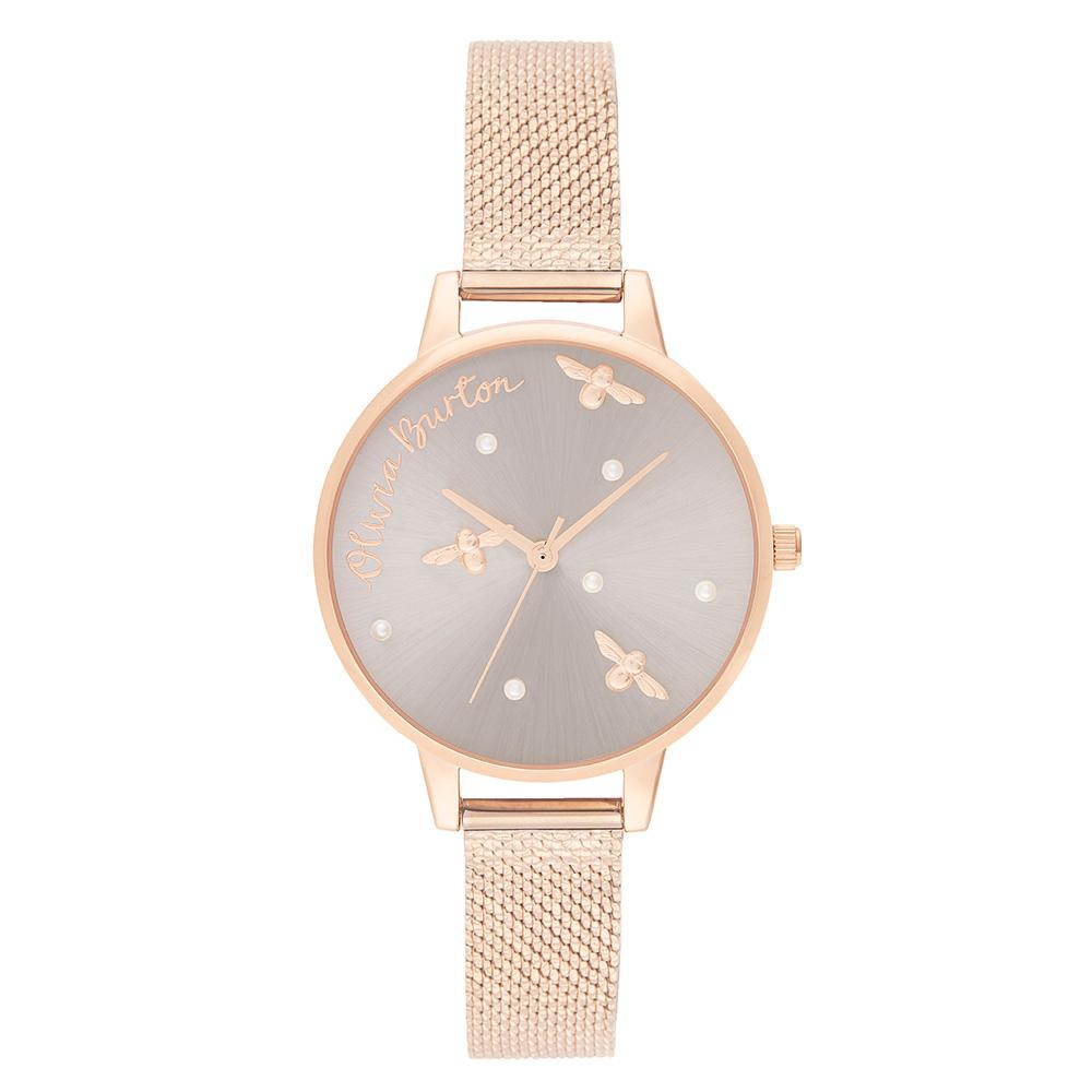 Olivia Burton Pearly Queen Ionic Rose Gold Mesh Ladies Watch - OB16PQ04