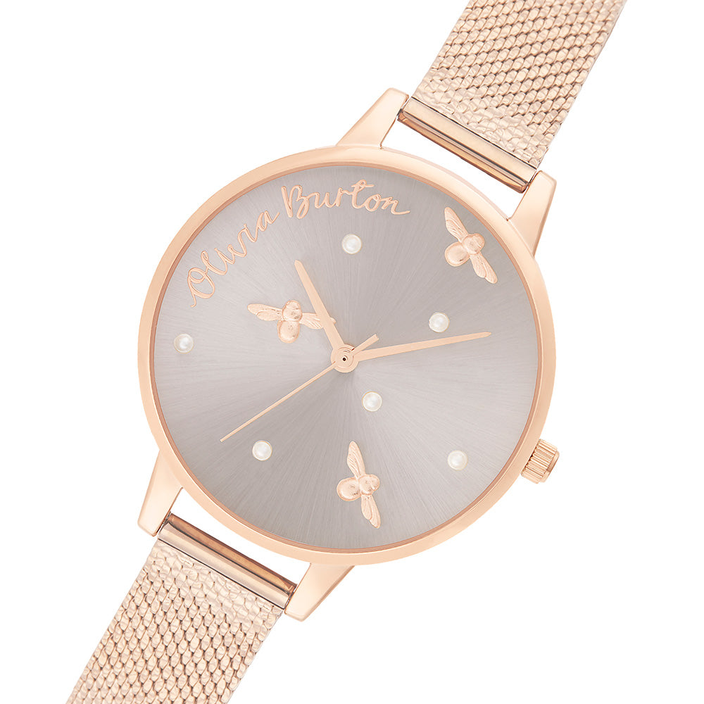 Olivia Burton Pearly Queen Rose Gold Mesh Ladies Watch - OB16PQ04