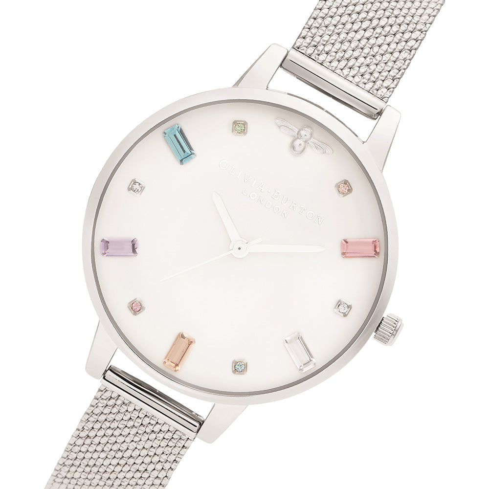 Olivia Burton Rainbow Bee Silver Mesh Ladies Watch - OB16RB10