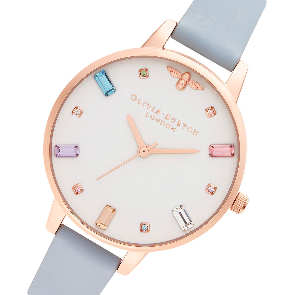 Olivia Burton Rainbow Bee Chalk Blue Leather Ladies Watch - OB16RB12