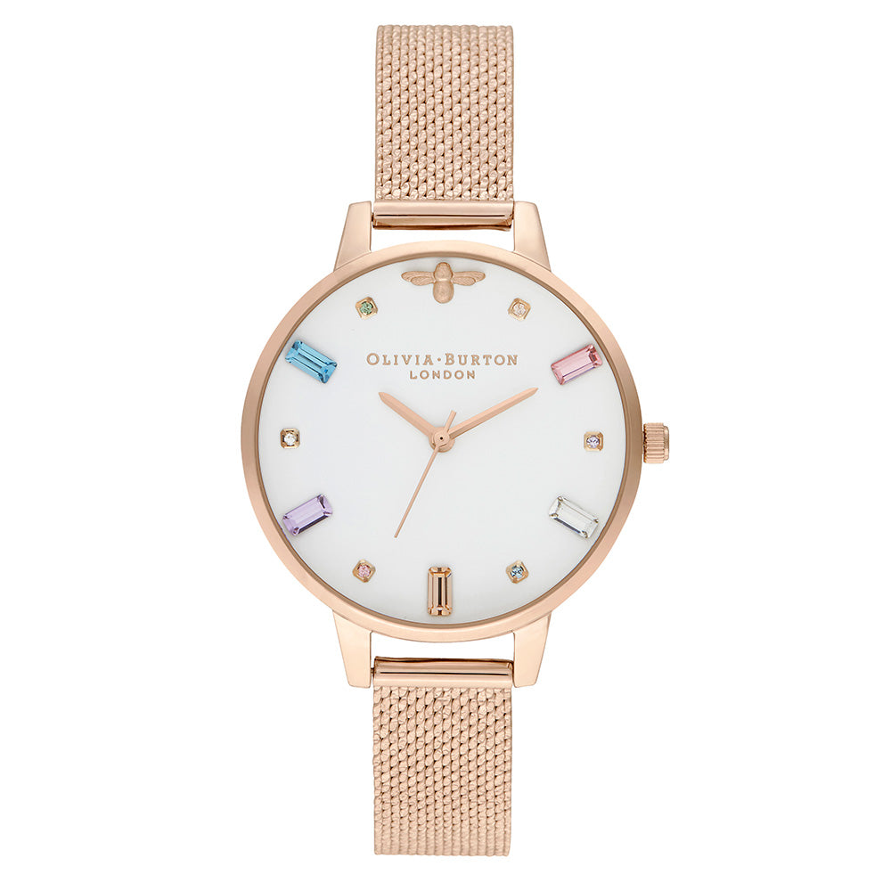 Olivia Burton Rainbow Bee Pale Rose Gold Mesh Ladies Watch - OB16RB15