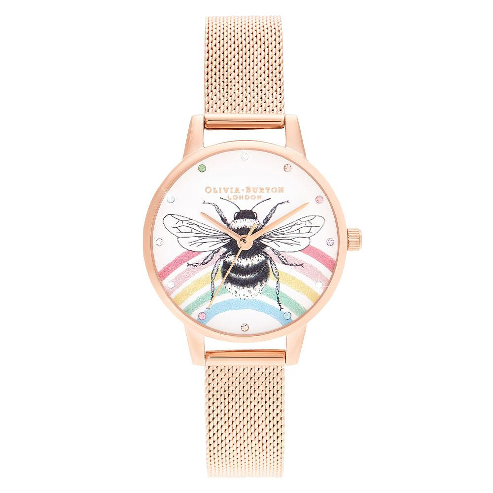 Olivia Burton Illustrated Animals Rainbow Bee, Rose Gold Mesh Ladies Watch - OB16WL90