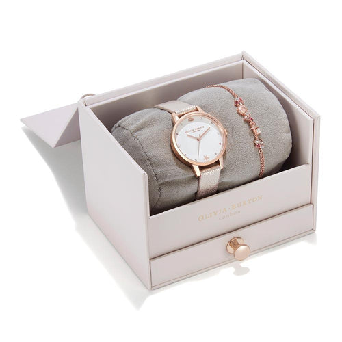 Olivia Burton Under The Sea Pearl Pink Leather Gift Set Women's Watch - OBGSET141