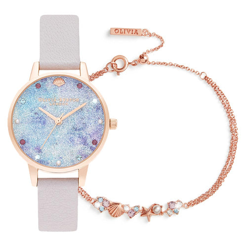 Olivia Burton Under The Sea Pearl Lilac Leather Gift Set Women's Watch - OBGSET142