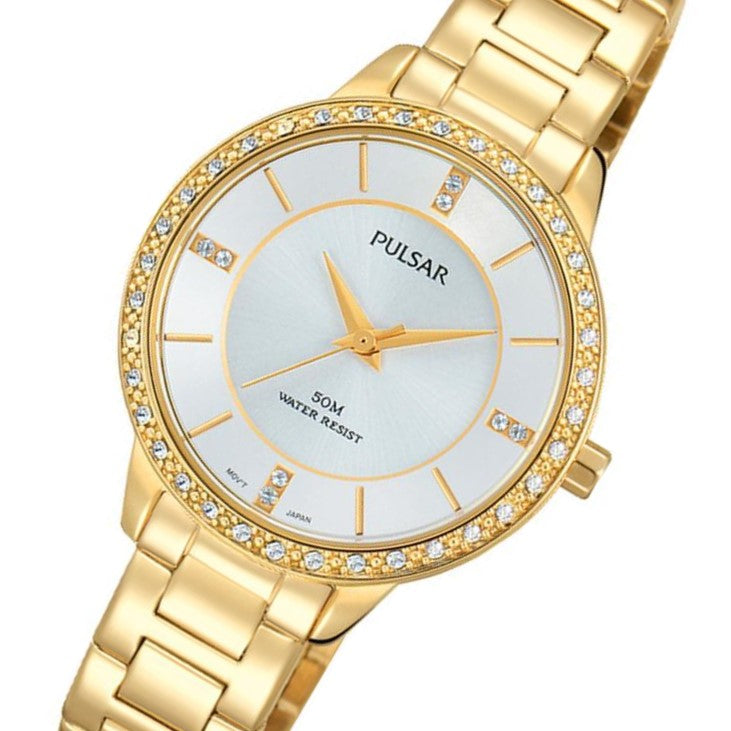 Pulsar Crystal Encrusted Gold Stainless Steel Ladies Watch -  PH8218X
