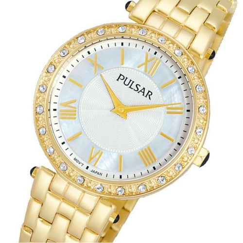 Pulsar Crystal Encrusted Gold Stainless Steel Ladies Watch -  PM2106X