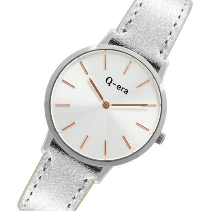 Q-era Metalilic Silver Leather Women's Watch - QV2801-10