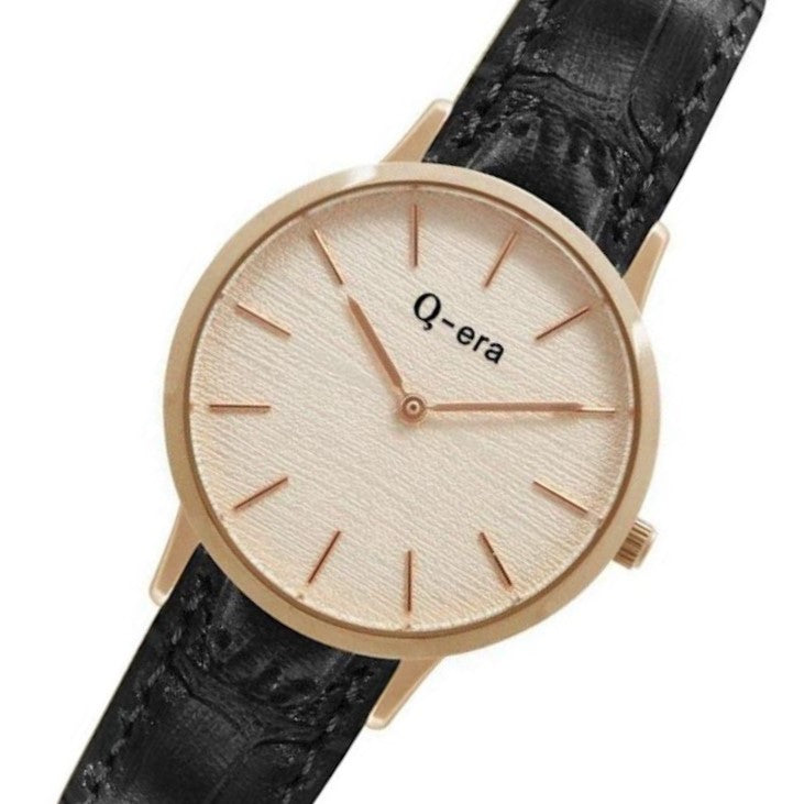 Q-era Black Leather Women's Watch - QV2801-28