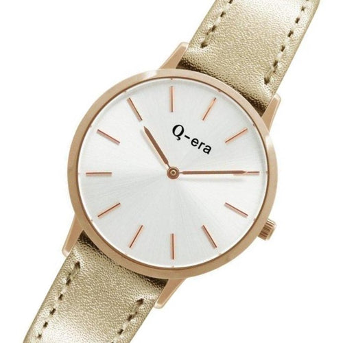 Q-era Metallic Rose Gold Leather Women's Watch - QV2801-8