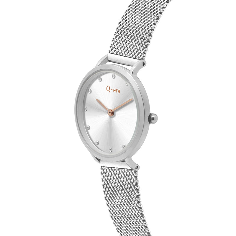 Q-Era Silver Mesh Women's  Watch - QV2803-27