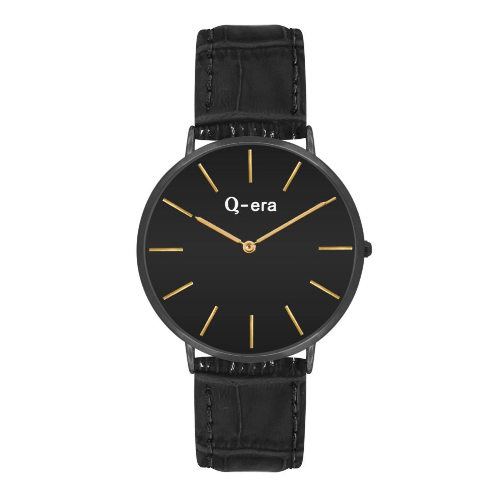 Q-era Black Leather Women's Watch - QV2804-2