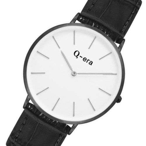 Q-era Black Leather Women's Watch - QV2804-3