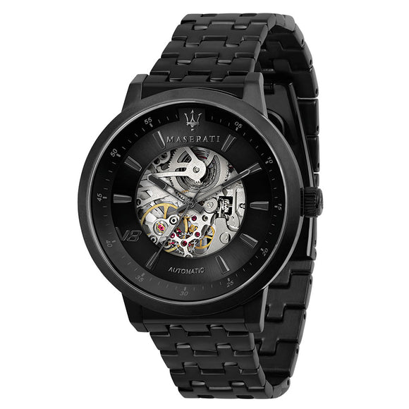 Maserati Granturismo 44mm Automatic Skeleton Black Steel Men's Watch - R8823134002