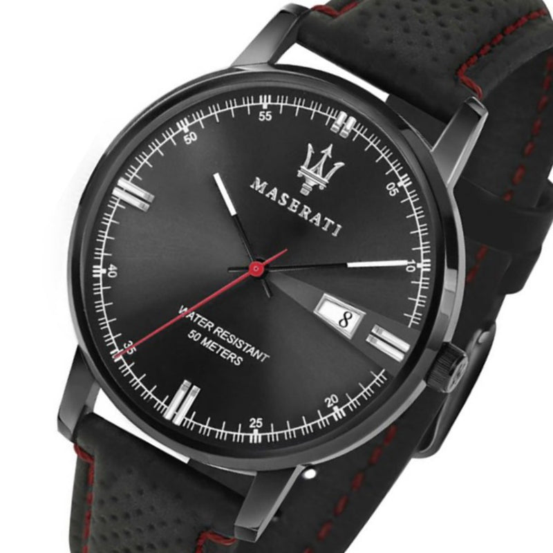 Maserati Eleganza Black Leather Men's Watch - R8851130001