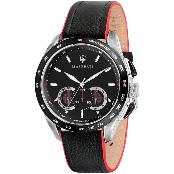 Maserati Traguardo Black Leather Men's Watch - R8871612028