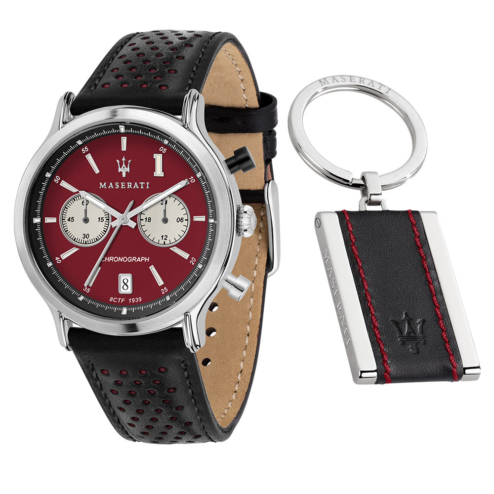 Maserati Epoca Limited Edition 42mm Black Leather Men's Watch & Keychain Set - R8871638002