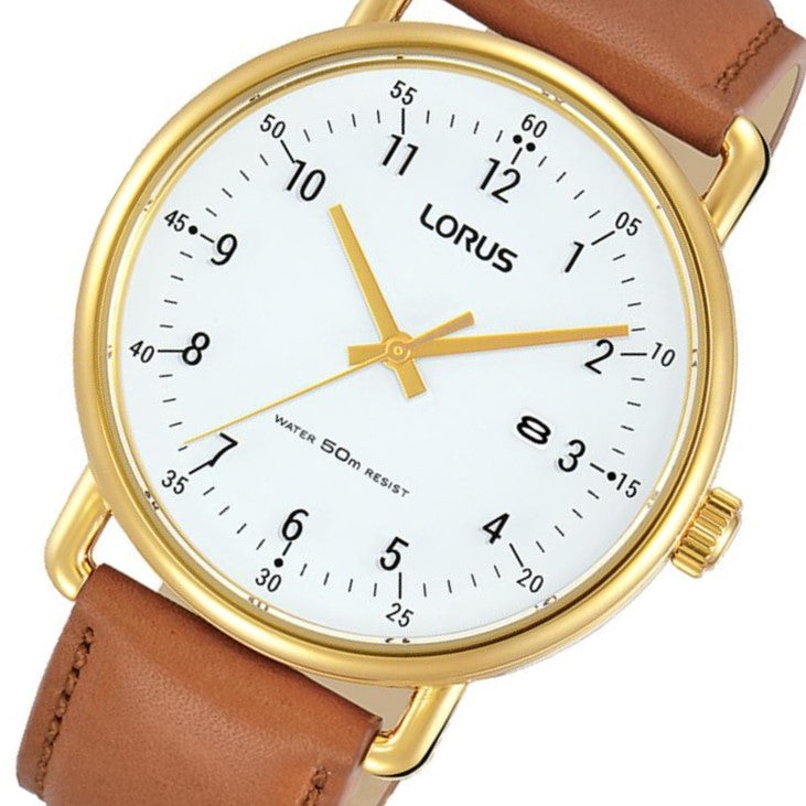 Lorus Gold Leather Men's Watch - RH908KX-9