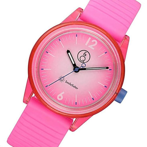 Q&Q SmileSolar Pink Dial Solar Kids Watch - RP18J015Y