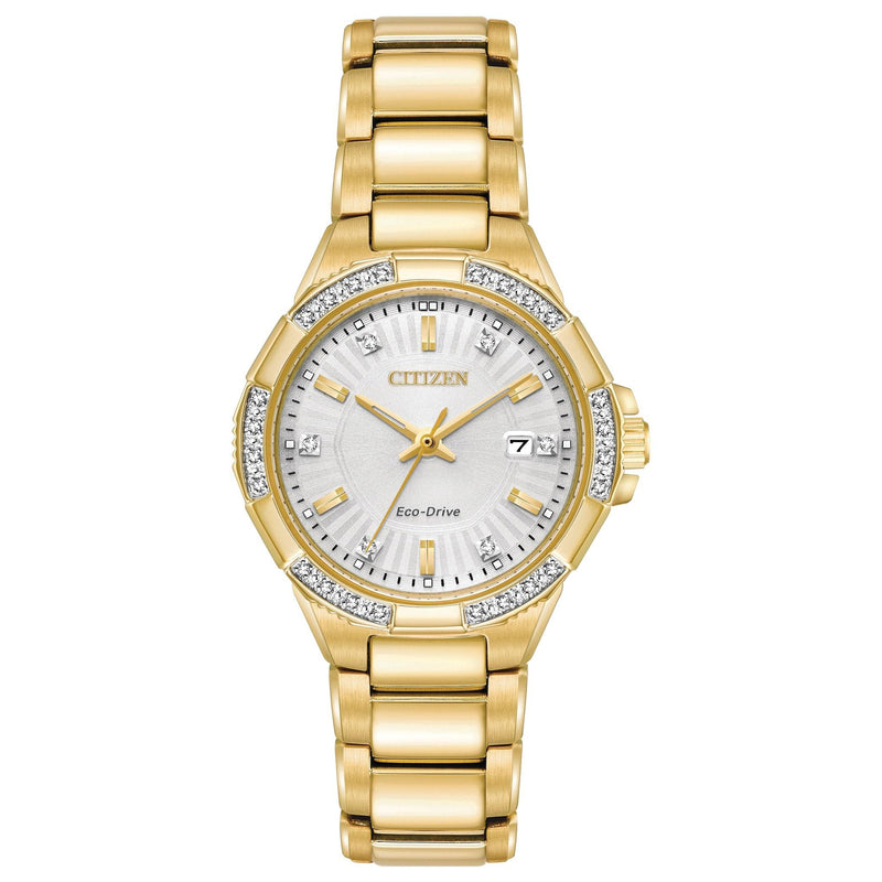 Citizen Ladies Diamond Eco-Drive Gold Stainless Steel Watch - EW2462-51A