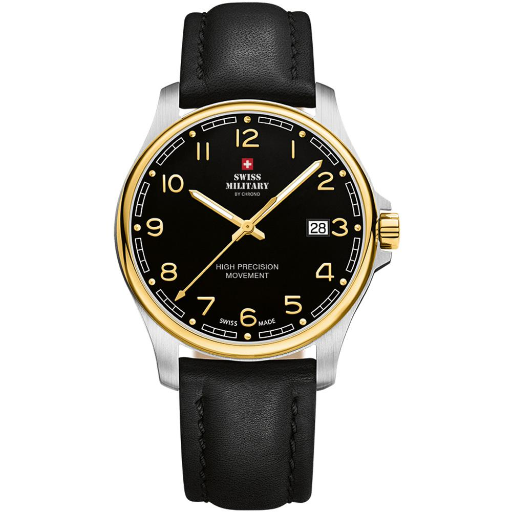 Swiss Military Black Leather Men's Watch - SM30200.27