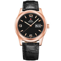 Swiss Military Black Leather Men's Watch - SM34004.10