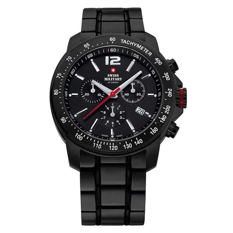 Swiss Military Black Steel Chrono Men's Watch - SM34033.03