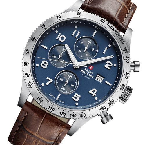 Swiss Military Brown Leather Men's Chrono Watch - SM34084.06