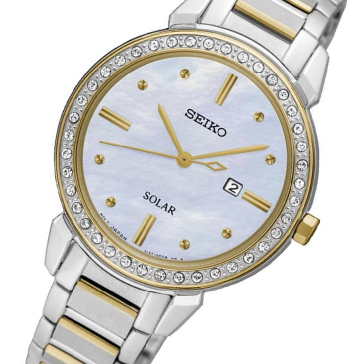 Seiko Conceptual Solar Powered Crystal Encrusted Ladies Watch - SUT328P