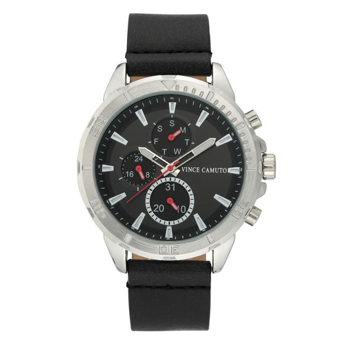 Vince Camuto Black Polyurethane Band Men's  Watch - VC1141BKSV