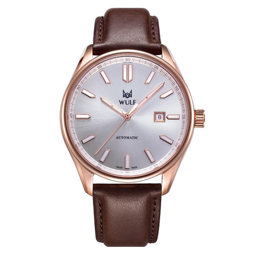 WULF 43 mm Brown Leather Automatic Swiss Made Unisex Watch - WF04.04