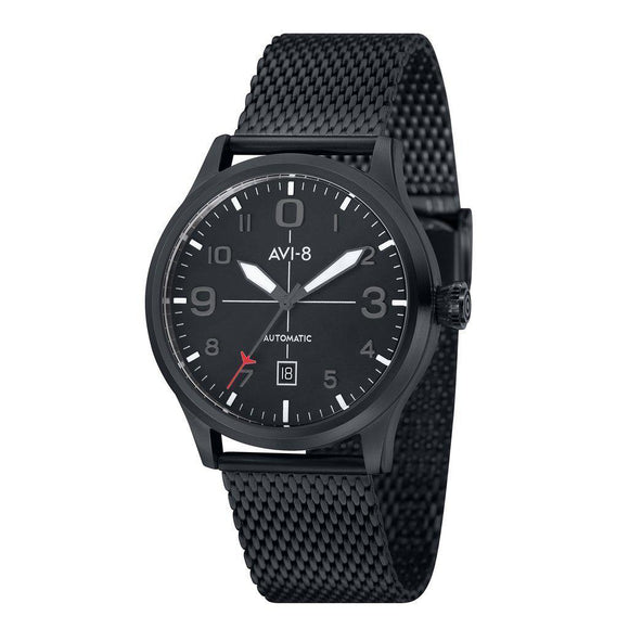 Avi-8 Flyboy Automatic Black Mesh Watch - AV-4021-44-The Watch Factory Australia