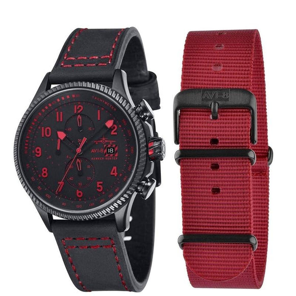 AVI-8 Hawker Hunter Men's Black Red Watch - AV-4036-03