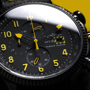 AVI-8 HAWKER HUNTER Men's Black Yellow Watch - AV403601