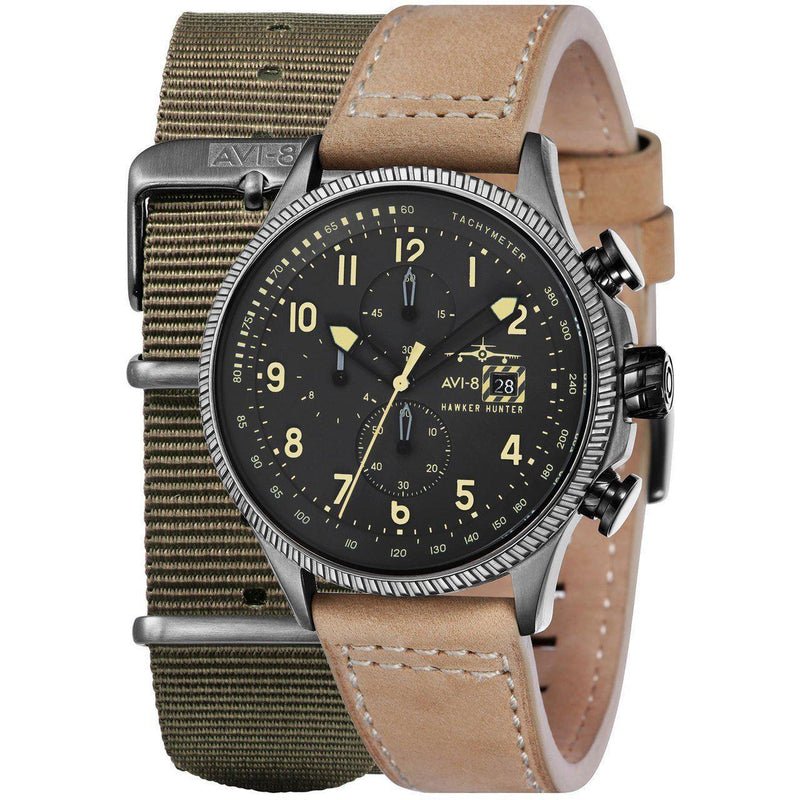 AVI-8 Men's Hawker Hunter Black Yellow Watch - AV-4036-06