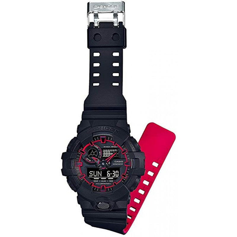 Casio G-Shock Super Illuminator Black & Neon Red Men's Watch - GA700SE-1A4