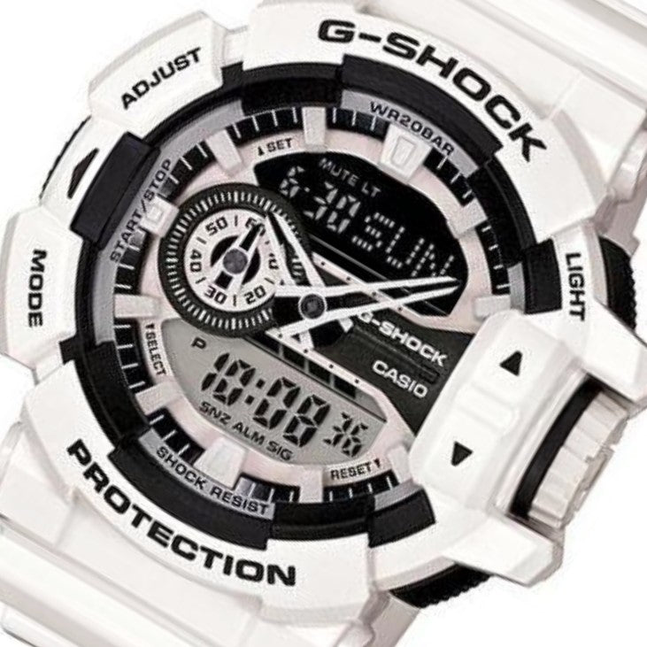 Casio G-SHOCK White Duo Chrono Watch - GA400-7A