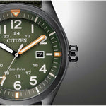 Citizen Gents Eco-Drive Green Nylon Men's Watch - AW5005-21Y