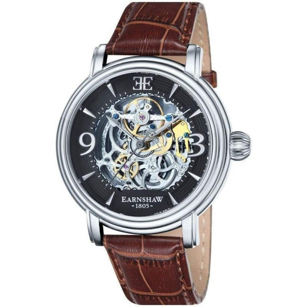 Earnshaw Longcase Men's Automatic Leather Watch - ES-8011-02